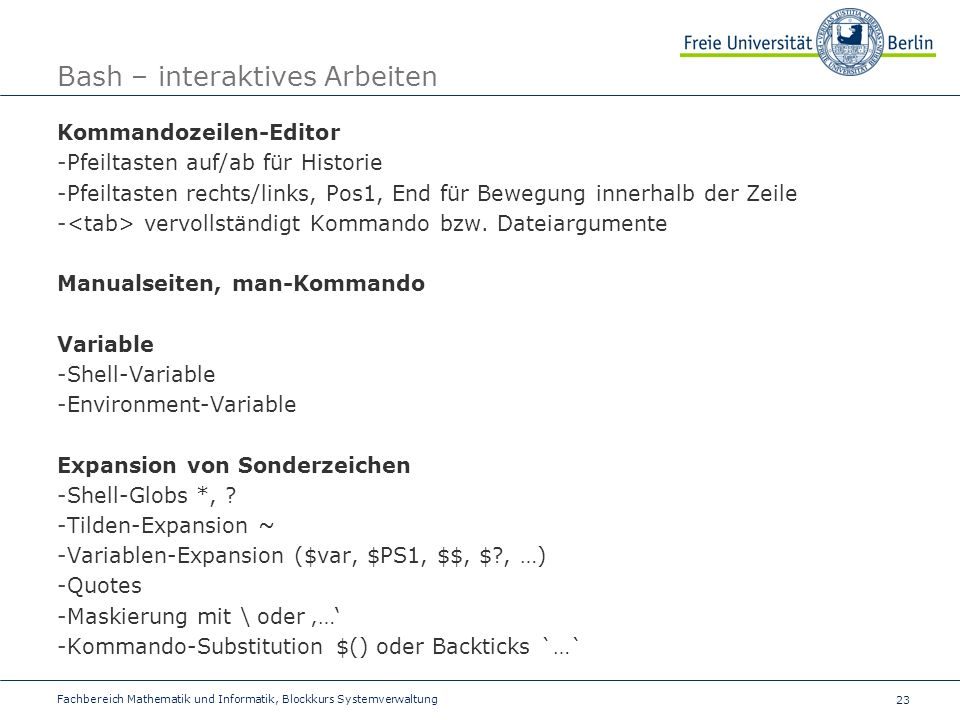 Bash – interaktives Arbeiten