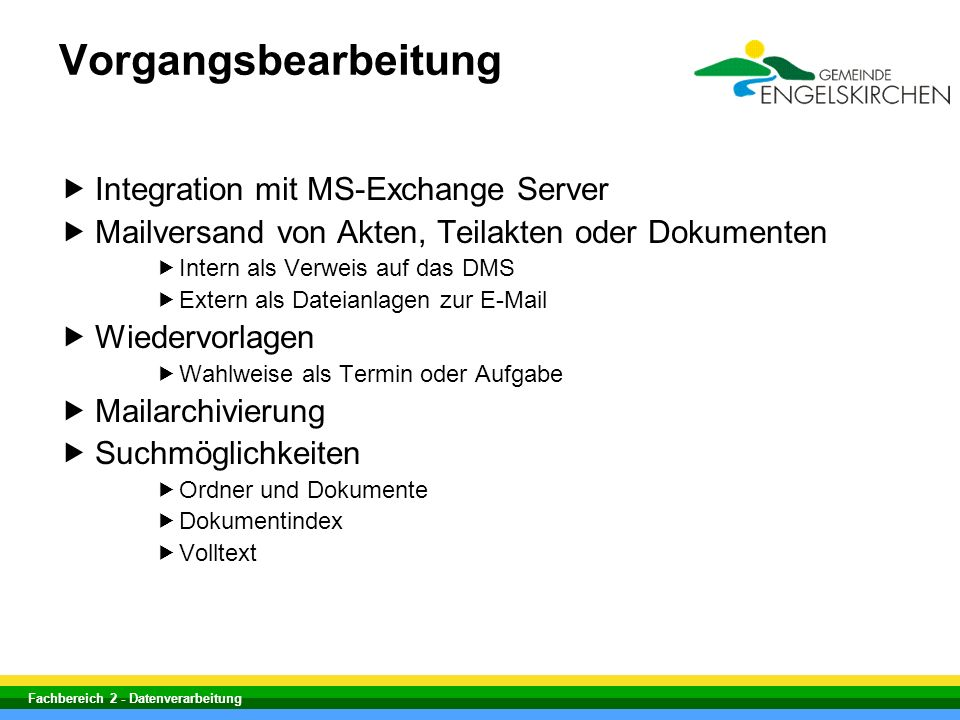Vorgangsbearbeitung Integration mit MS-Exchange Server