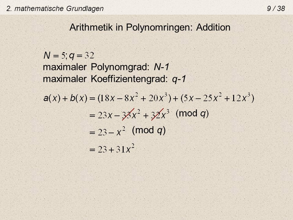 Arithmetik in Polynomringen: Addition