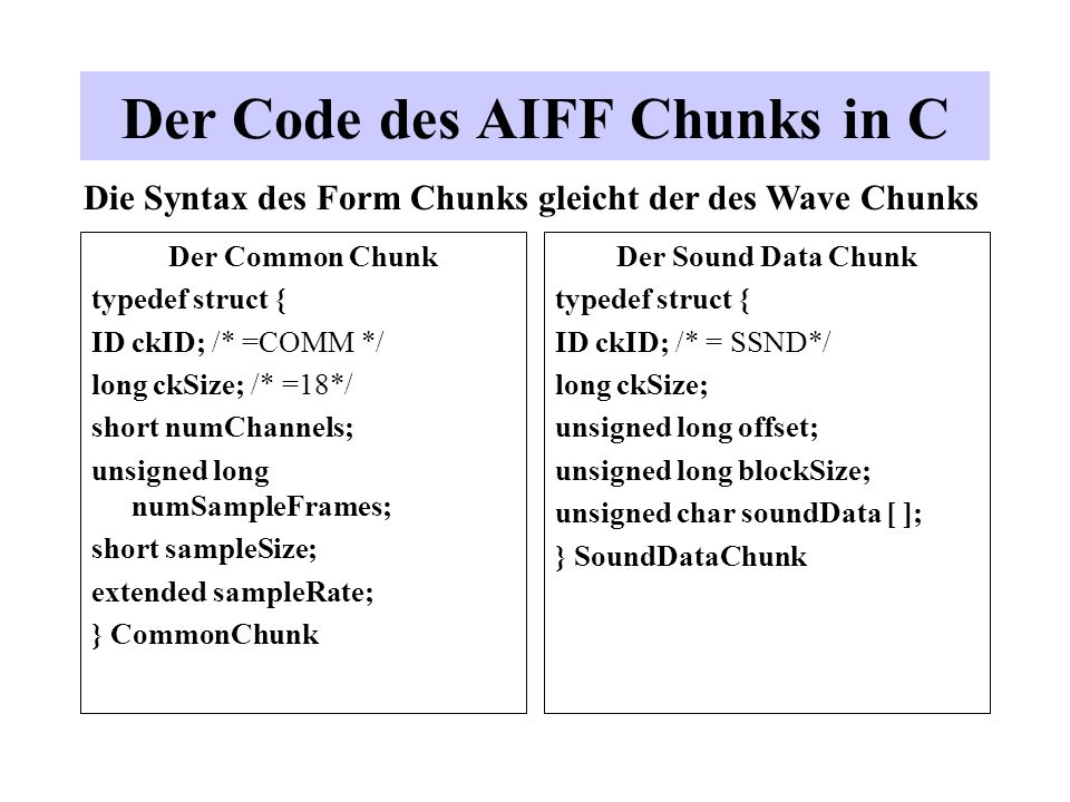 Der Code des AIFF Chunks in C