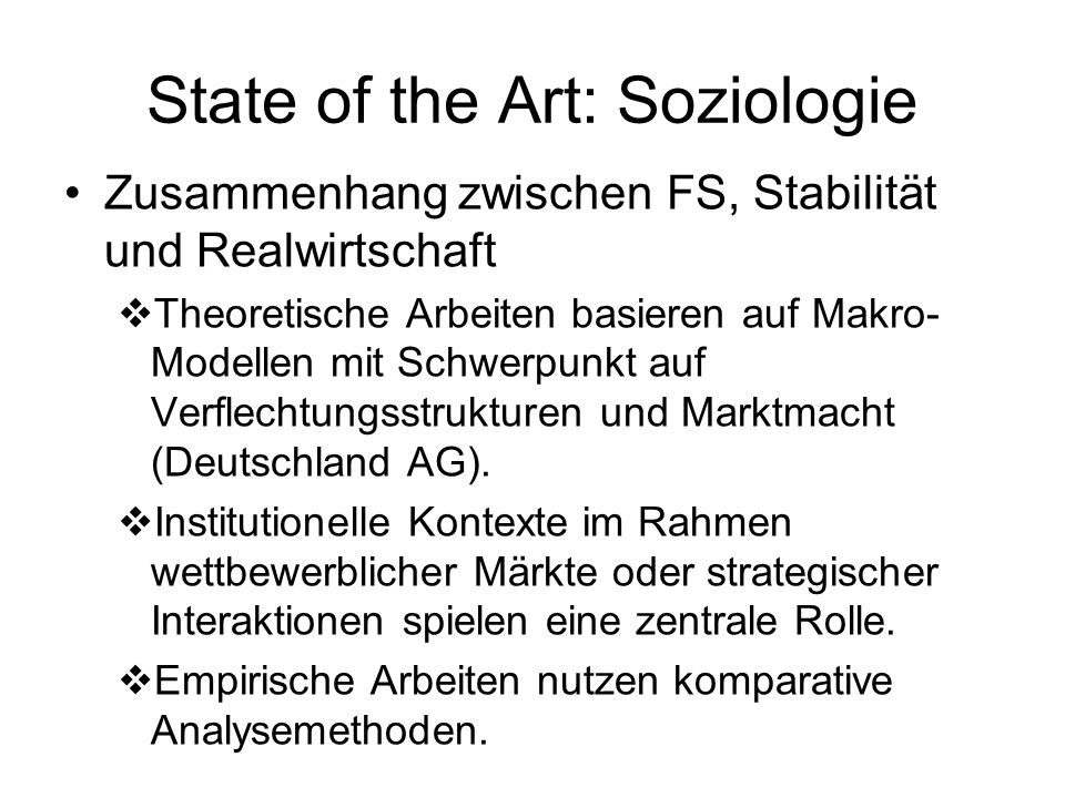 State of the Art: Soziologie
