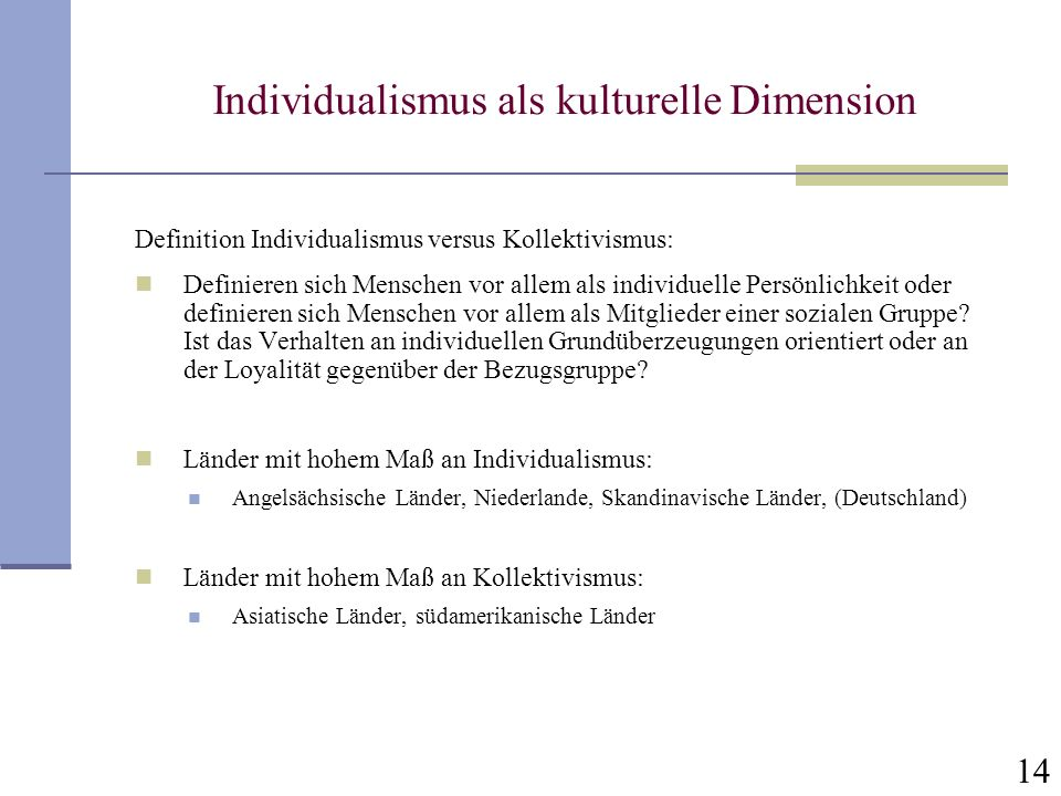 Individualismus als kulturelle Dimension