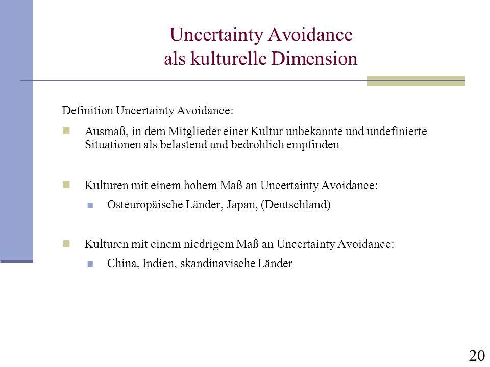 Uncertainty Avoidance als kulturelle Dimension
