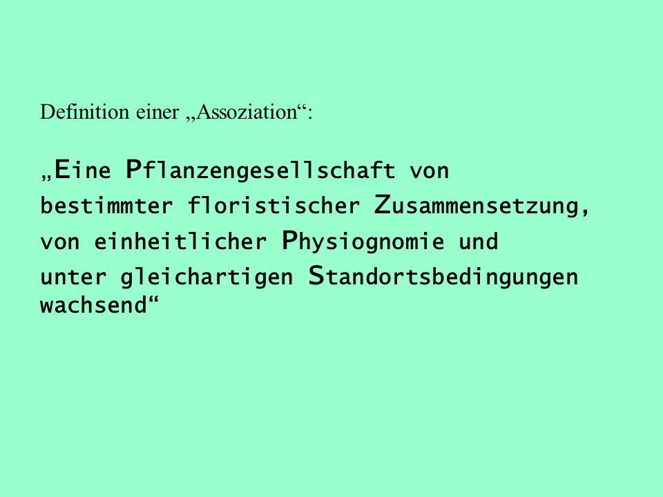 "Definition einer ""Assoziation :"