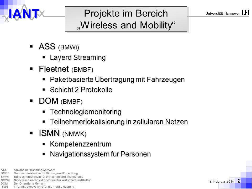 "Projekte im Bereich ""Wireless and Mobility"