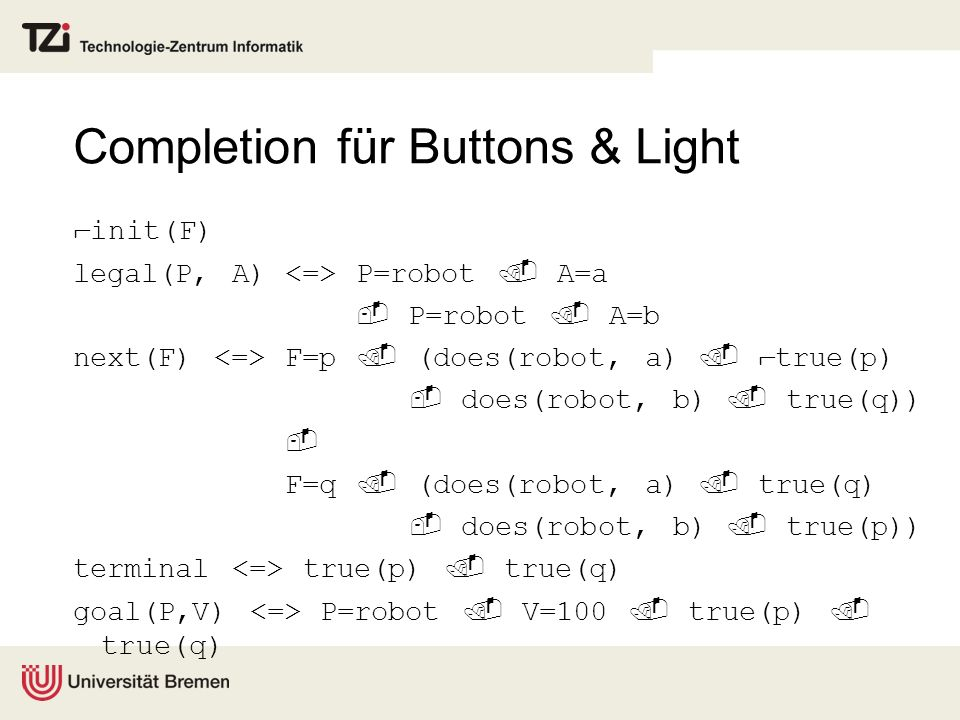 Completion für Buttons & Light