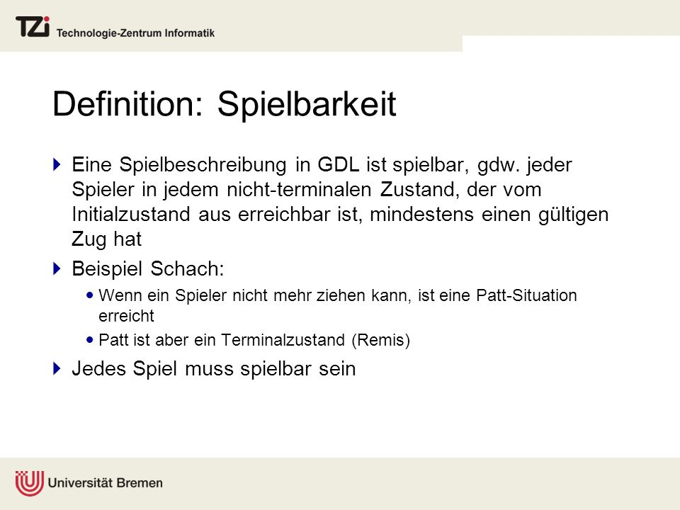 Definition: Spielbarkeit
