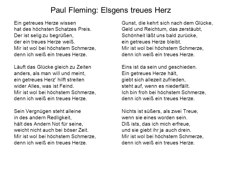 Paul Fleming: Elsgens treues Herz