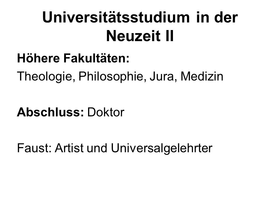 Universitätsstudium in der Neuzeit II