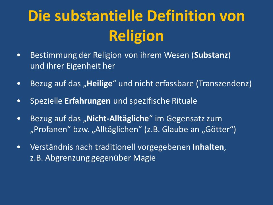 Die substantielle Definition von Religion