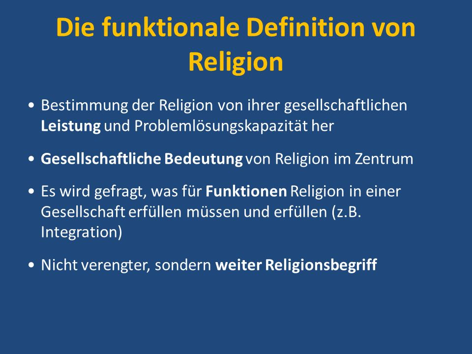 Die funktionale Definition von Religion