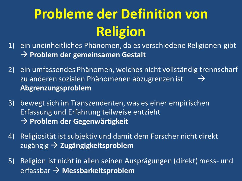 Probleme der Definition von Religion