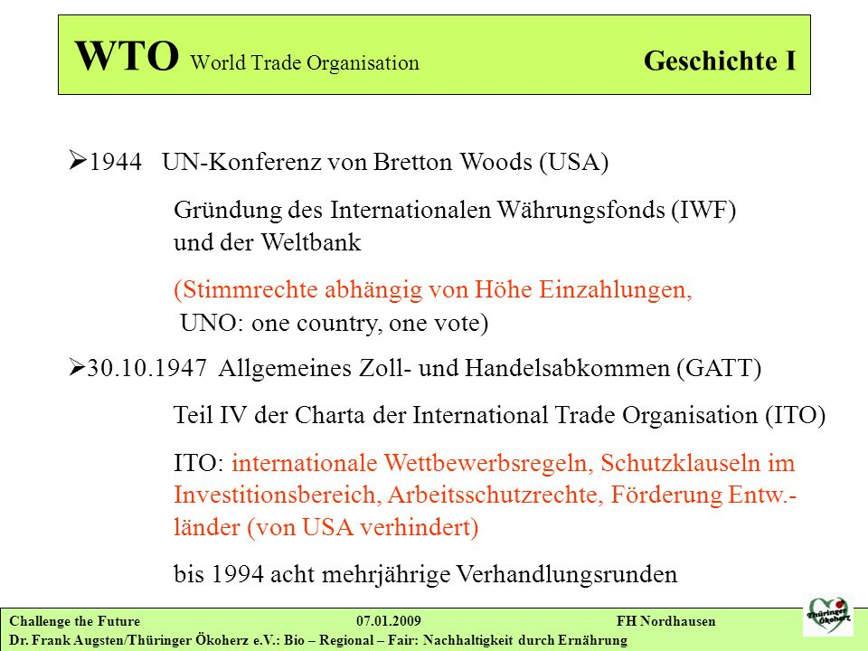 WTO World Trade Organisation Geschichte I