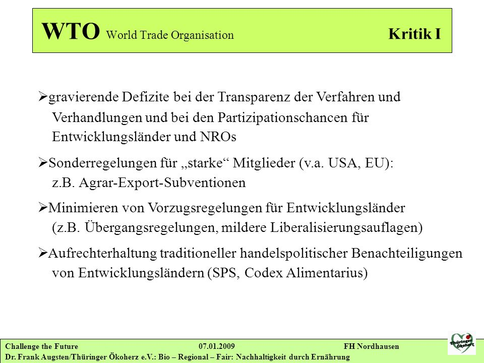 WTO World Trade Organisation Kritik I