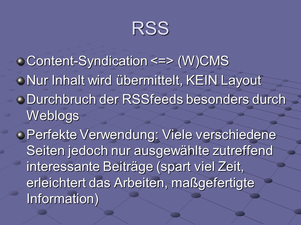 RSS Content-Syndication <=> (W)CMS