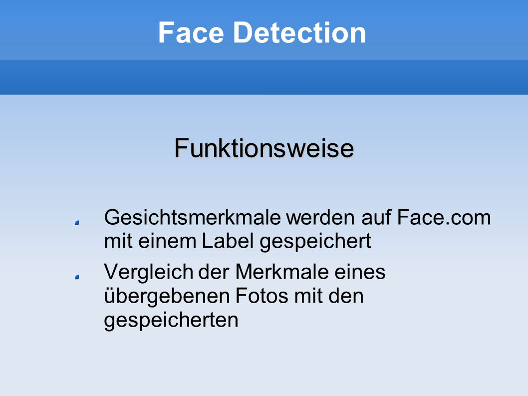 Face Detection Funktionsweise