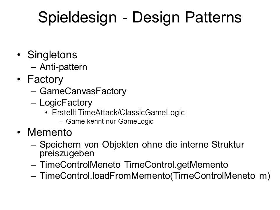 Spieldesign - Design Patterns