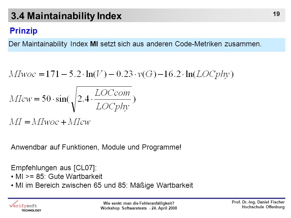 3.4 Maintainability Index
