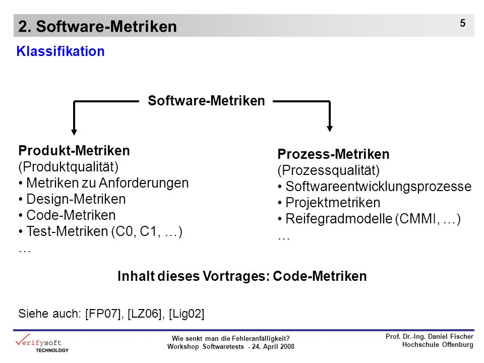 2. Software-Metriken Klassifikation Software-Metriken Produkt-Metriken