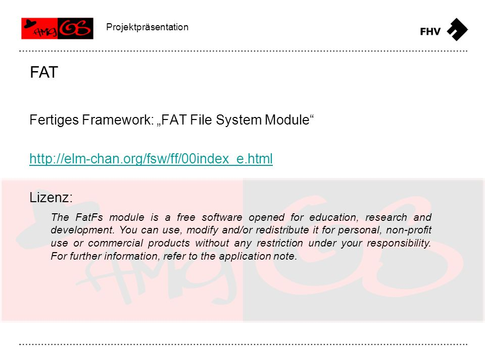 "FAT Fertiges Framework: ""FAT File System Module"