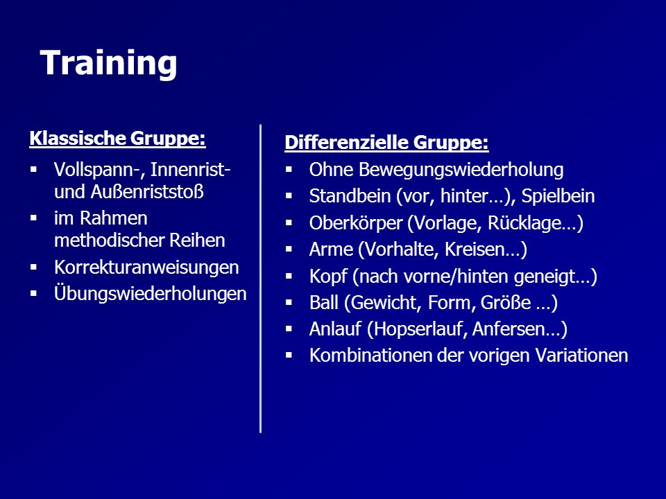 Training Klassische Gruppe: Differenzielle Gruppe: