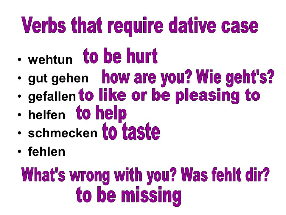 Verbs that require dative case