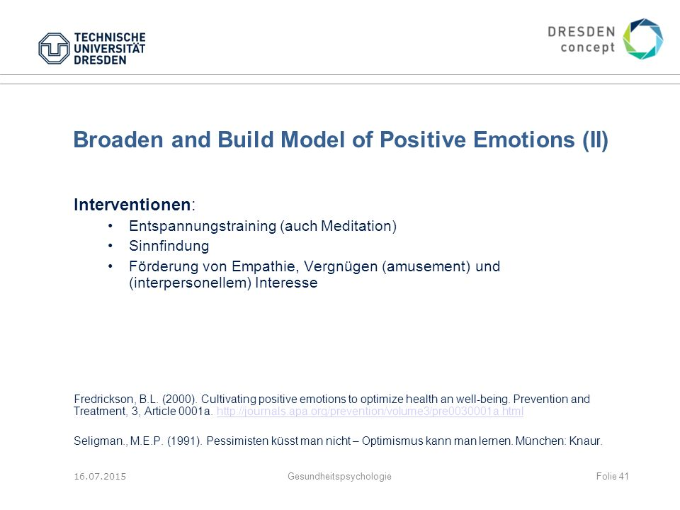 Broaden and Build Model of Positive Emotions (II)
