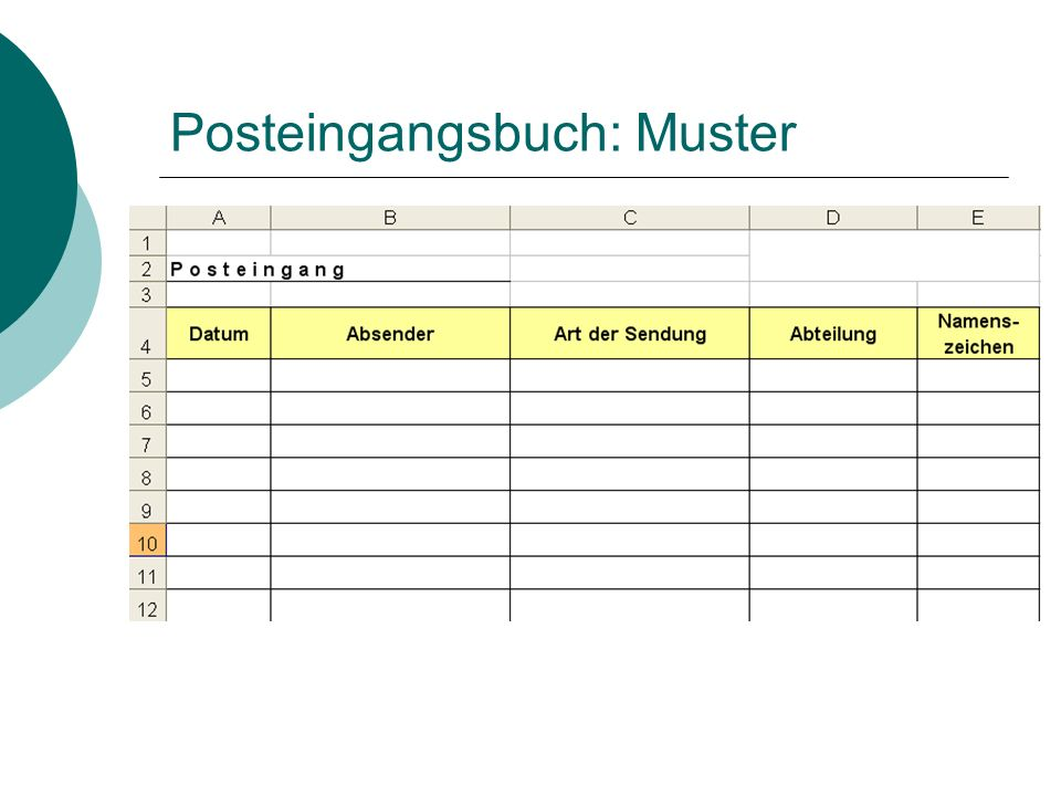 Posteingangsbuch: Muster