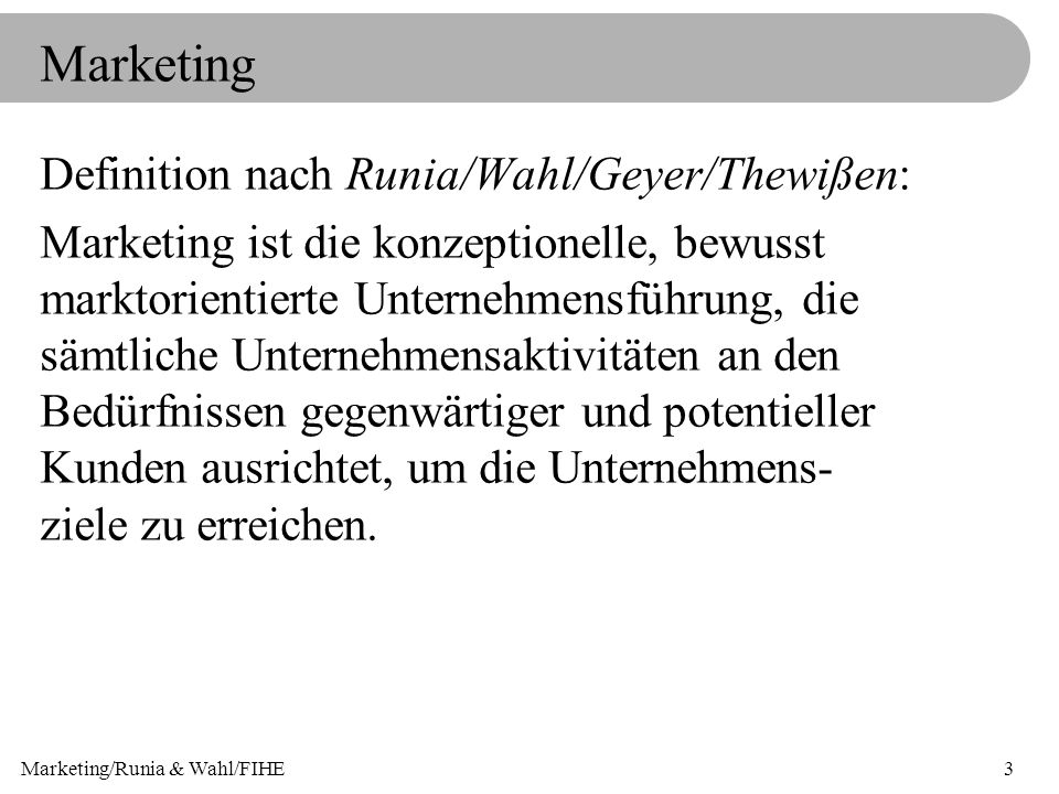 Marketing/Runia & Wahl/FIHE