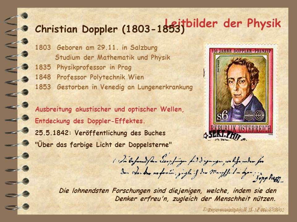 Leitbilder der Physik Christian Doppler ( )
