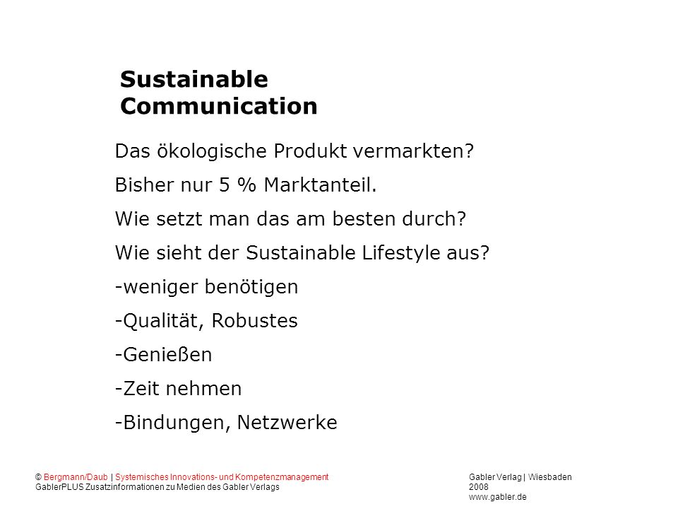 Sustainable Communication Das ökologische Produkt vermarkten