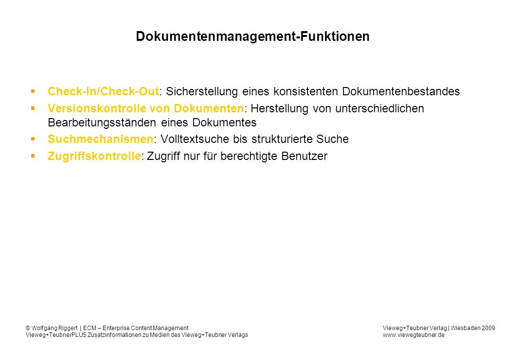 Dokumentenmanagement-Funktionen
