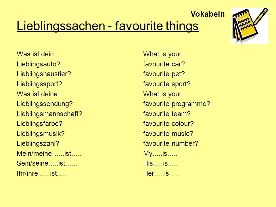 Lieblingssachen - favourite things