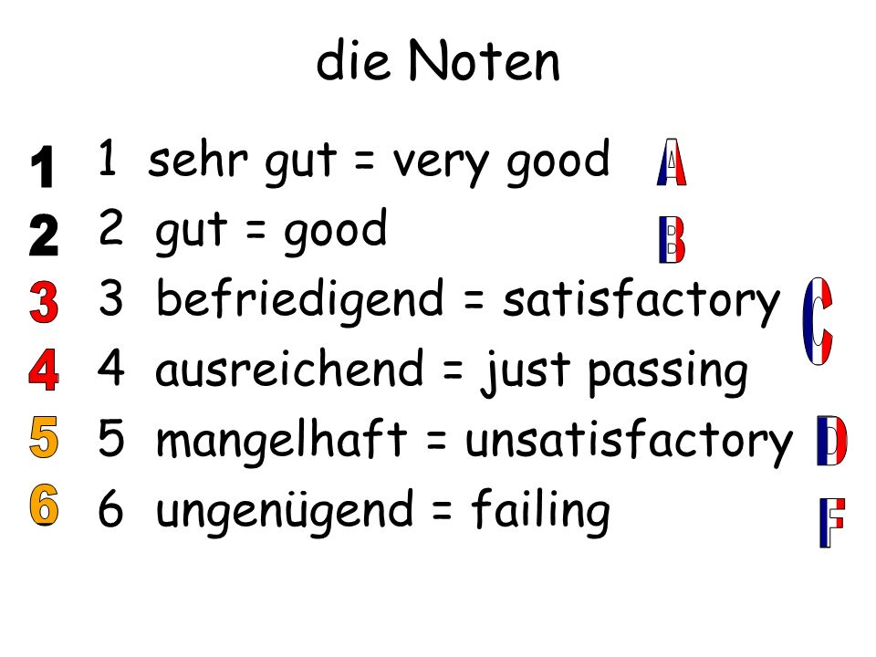 die Noten 1 sehr gut = very good 2 gut = good