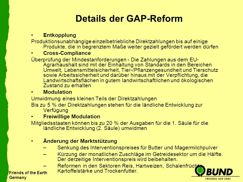 Details der GAP-Reform