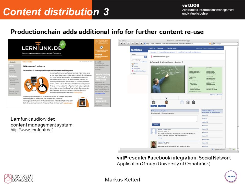 Content distribution 3 Productionchain adds additional info for further content re-use. Lernfunk audio/video.
