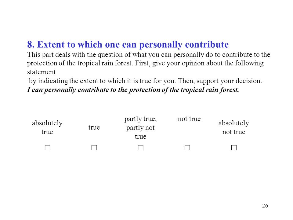 8. Extent to which one can personally contribute