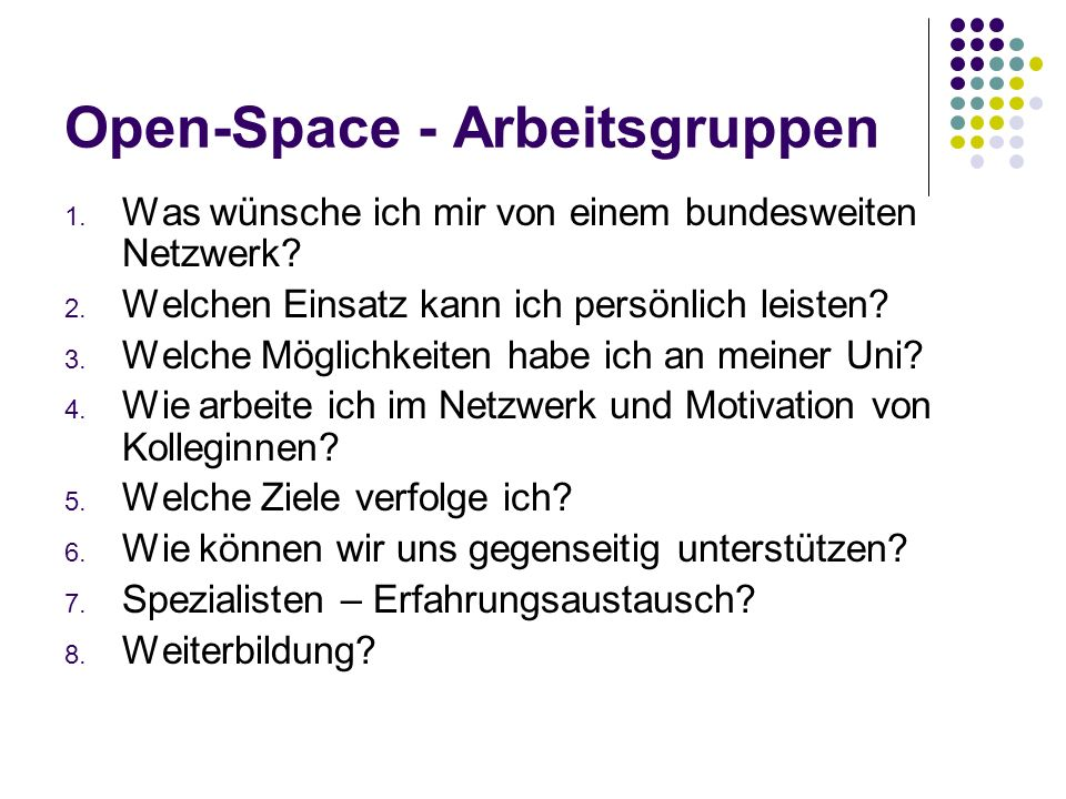 Open-Space - Arbeitsgruppen