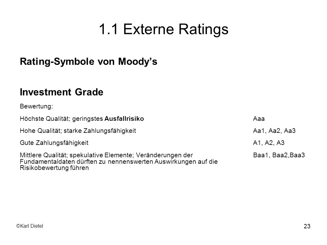 1.1 Externe Ratings Rating-Symbole von Moody's Investment Grade