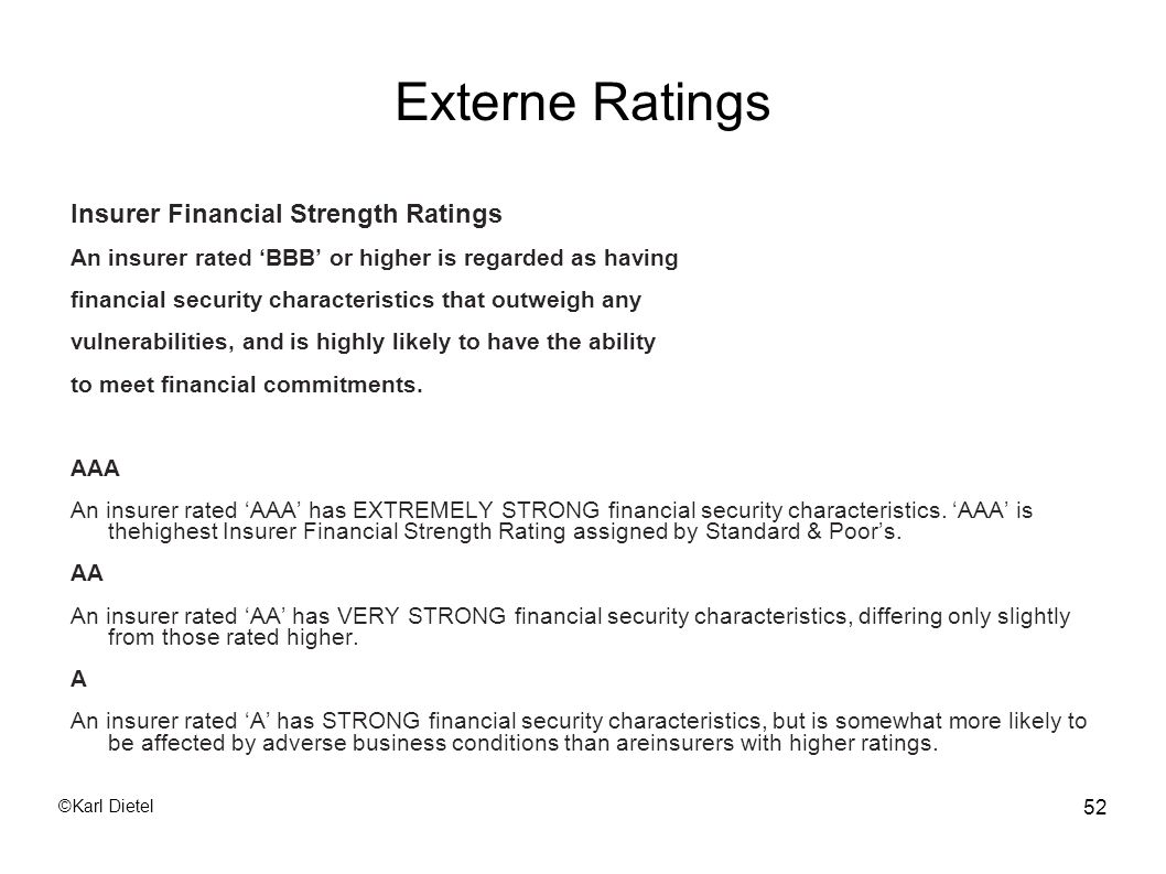 Externe Ratings Insurer Financial Strength Ratings