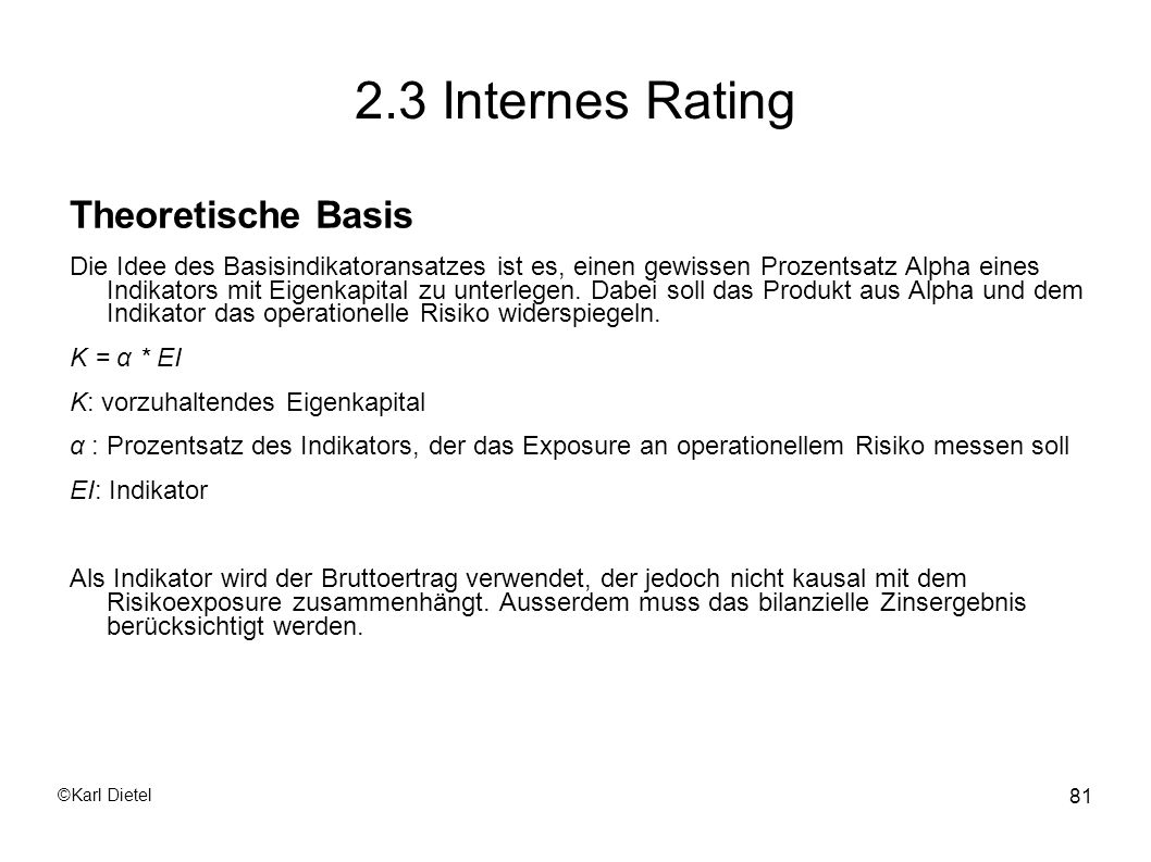 2.3 Internes Rating Theoretische Basis