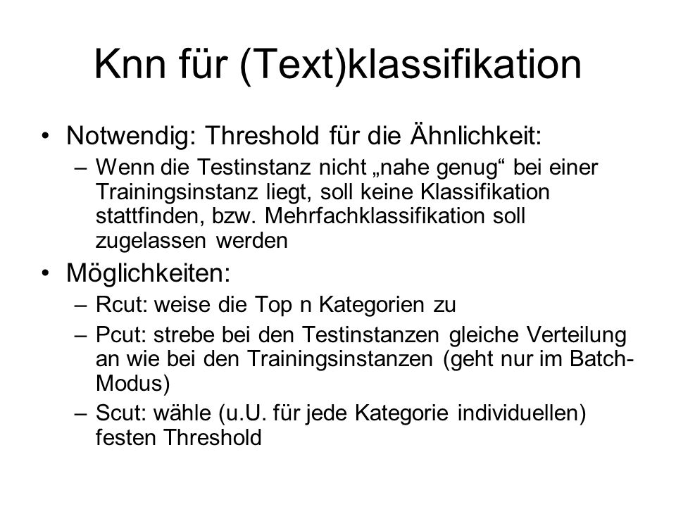 Knn für (Text)klassifikation