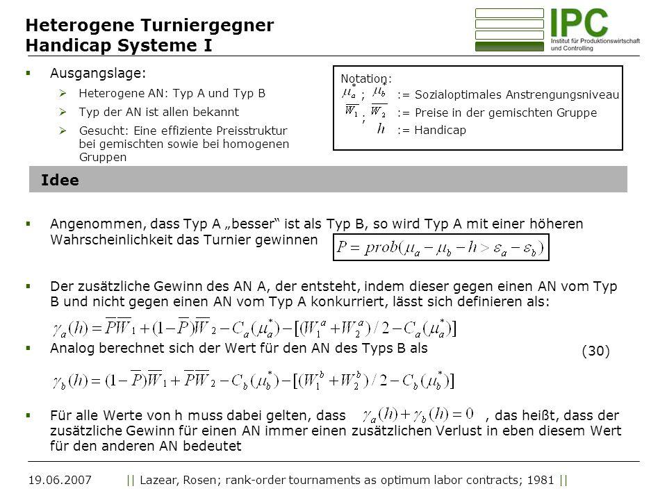 Heterogene Turniergegner Handicap Systeme I