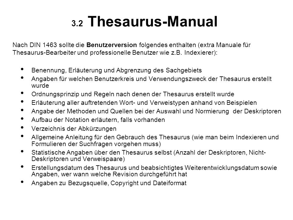 3.2 Thesaurus-Manual