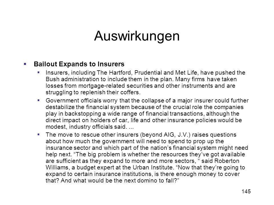 Auswirkungen Bailout Expands to Insurers