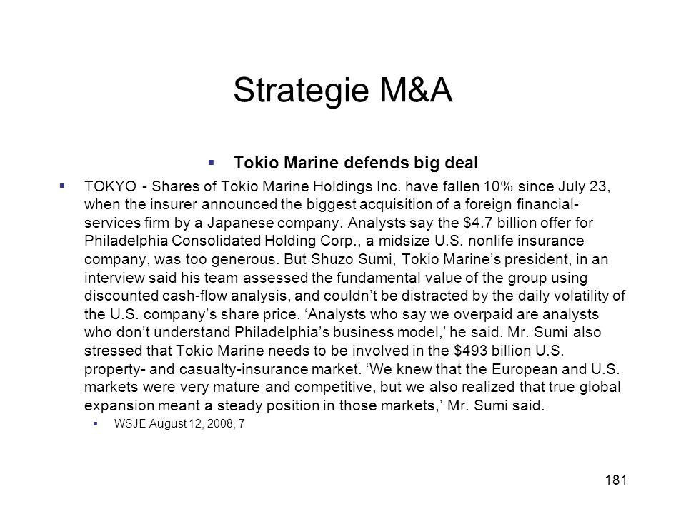 Tokio Marine defends big deal
