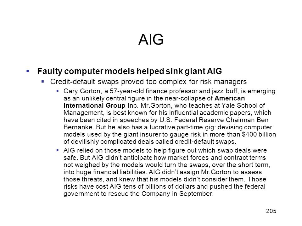 AIG Faulty computer models helped sink giant AIG