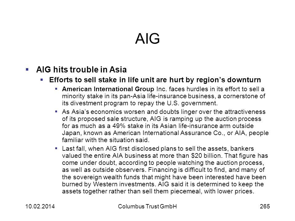 AIG AIG hits trouble in Asia