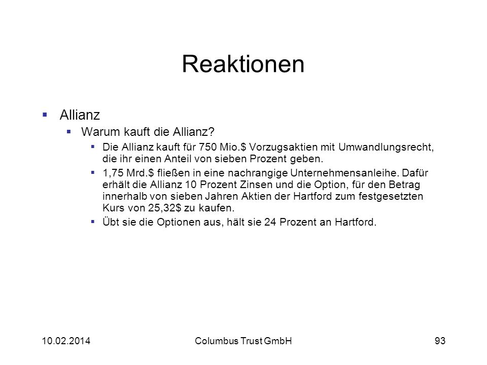 Reaktionen Allianz Warum kauft die Allianz