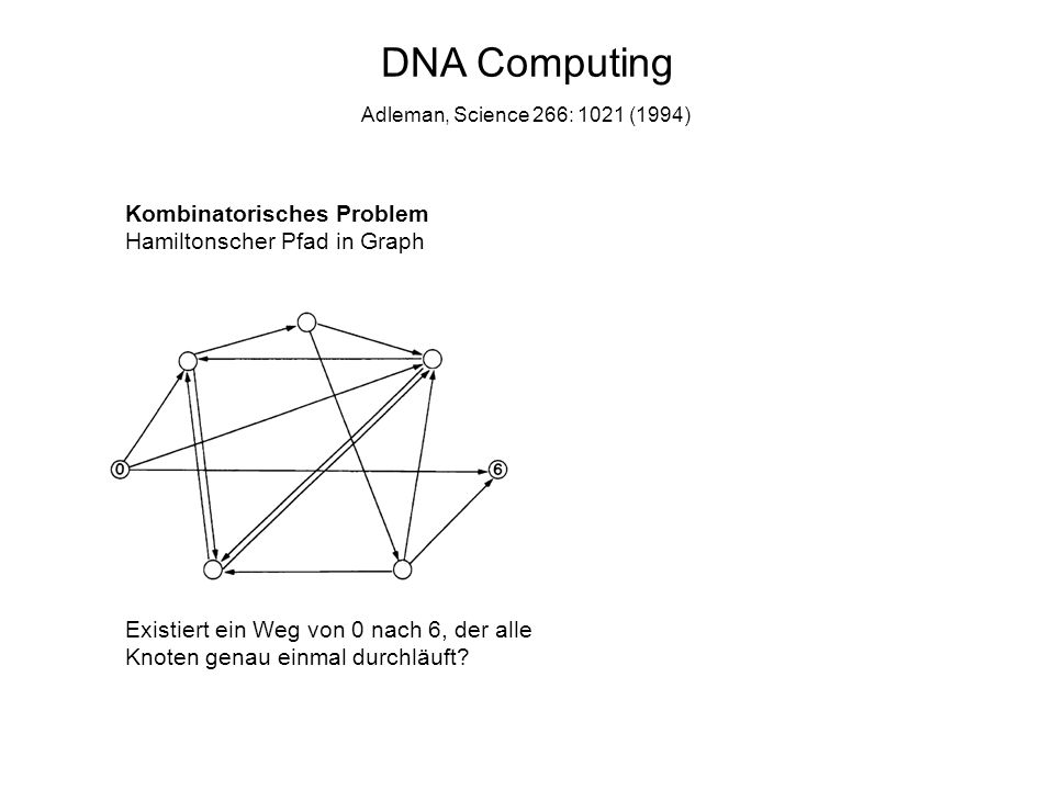 DNA Computing Kombinatorisches Problem Hamiltonscher Pfad in Graph